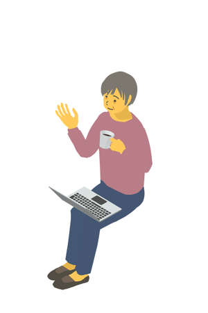 Isometric Diagrams Vector Illustrations of Healthy Granny Talking Remotely on Laptops