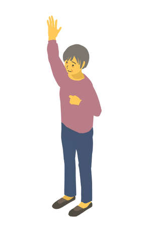 Isometric Diagrams Vector Illustration of a Healthy Granny Raises One Hand