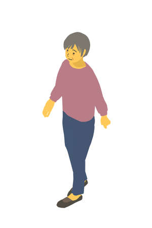 Isometric Diagrams Vector Illustrations of Healthy Granny Walking