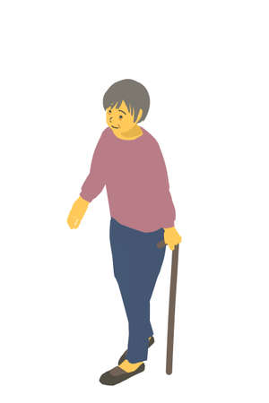 Isometric Diagrams Vector Illustration of a Healthy Granny Walking with a Cane