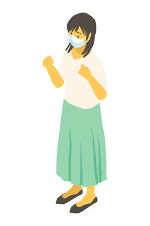 Vector illustration of a young woman standing in an isometric mask Stock Illustratie