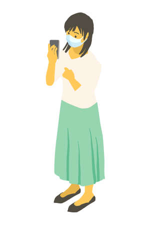 Vector illustration of a young woman wearing an isometric mask and operating a smartphone