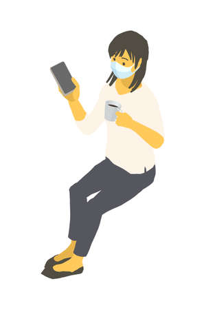 Vector illustration of a young woman wearing an isometric mask and operating a smartphone Stockfoto - 154626190