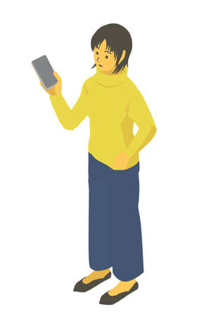 Female Vector Illustration of Winter Clothes with Isometric Smartphones