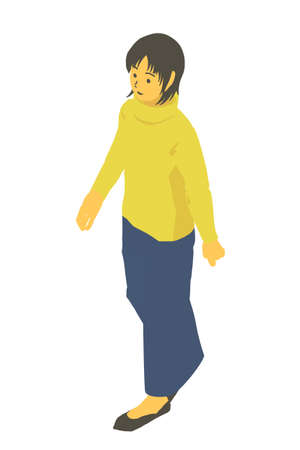 Isometric Female Vector Illustration of Walking Winter Clothes