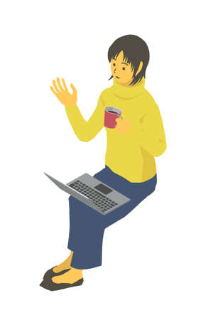 Isometric Female vector illustration of winter clothes sitting and operating a laptop