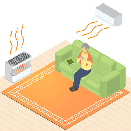 Vector illustration of grandma in an isometric heated room Stockfoto - 155717479