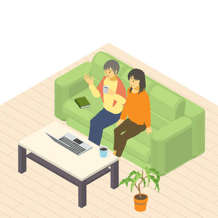 Isometric Old Parents and Daughters' Group Remote Conversation Chatting with Distant Grandchildren