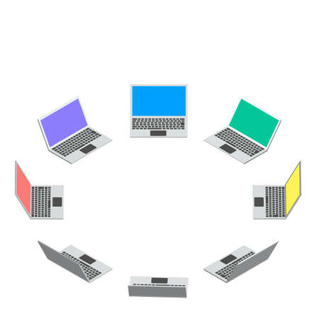 A laptop computer drawn in isometric design. The circle of network communication.