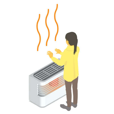 Vector illustration of a woman warming her hand in front of a stove