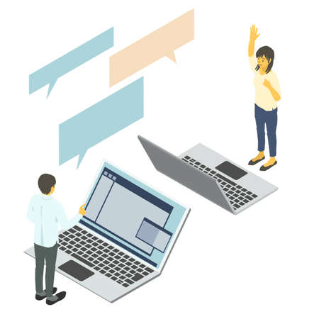 Vector illustration of two business people chatting on an isometric laptop Stockfoto - 156766977