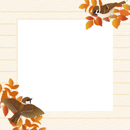 Natural Frame Vector Illustrations of Sparrows and Autumn Branches