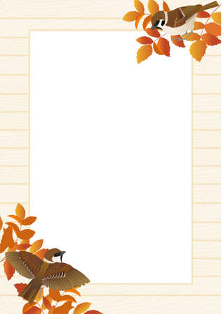 A4 size poster frame vector illustration of autumn leaves, sparrows and white wooden boards Stock Illustratie