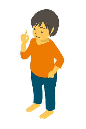 Vector illustration of a cute toddler pointing at isometric