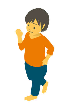 Vector illustration of a cute toddler running isometric