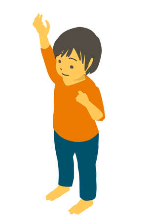 Vector illustration of a cute toddler pointing with his isometric hand up