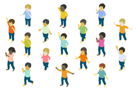 Isometric Colorful vector illustrations of children from different races dancing and posing freely