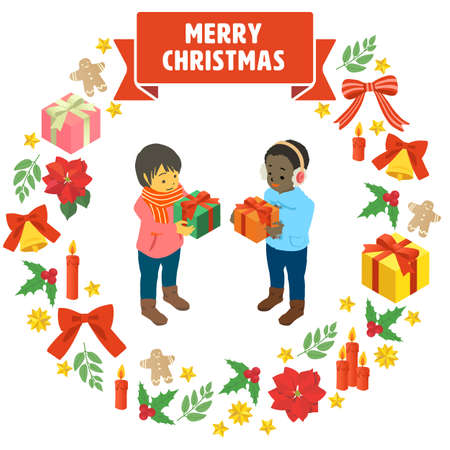 Simple vector illustrations of children receiving Christmas gifts Stock Illustratie
