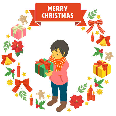 A simple vector illustration of a child receiving a Christmas present