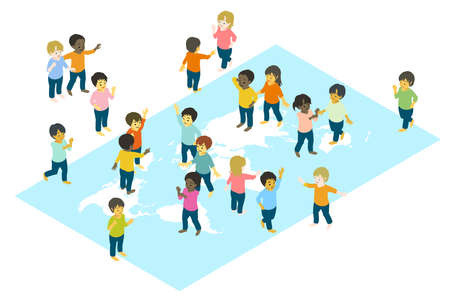 Isometric Colorful vector illustrations of children from various races playing together on the world map Stock Illustratie