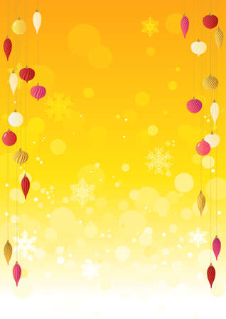 Warm ornaments and orange sparkly background vector illustrations