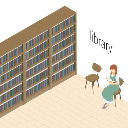 Vector illustrations of women reading books in the library Stock Illustratie