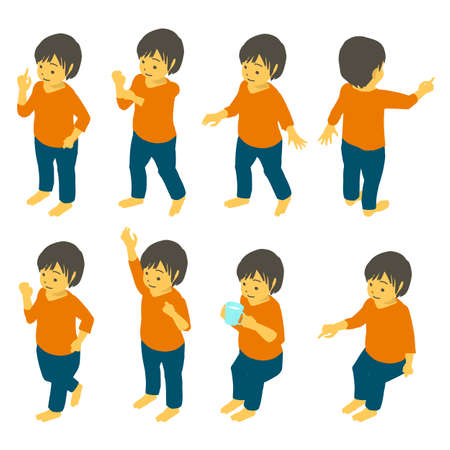 Isometric Children's Gesture Pose Vector Illustration Set