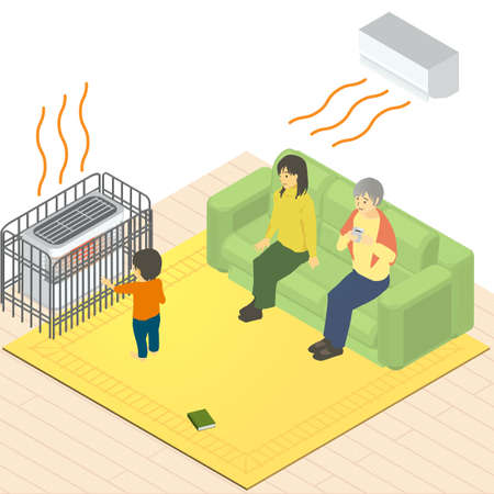 Vector illustration of a child, mother, and grandma in an isometric heated room