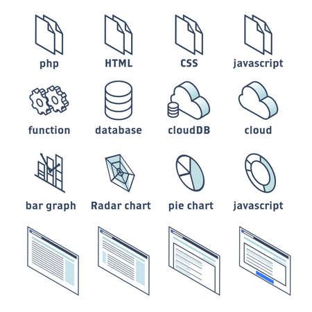 Isometric Simple Icon Web Production and Data, Graph Vector Icon Set Stock Illustratie