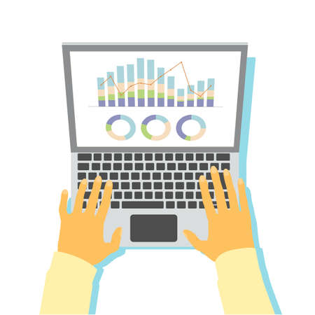 Vector illustration of a hand that operates a laptop computer with graph data displayed