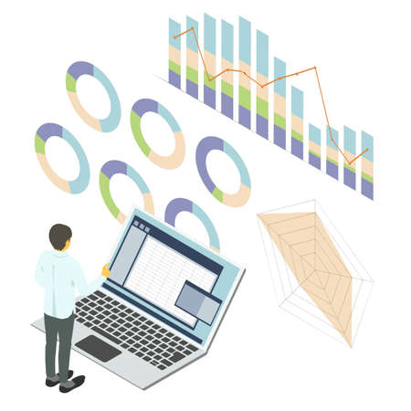 Vector illustration of a business person working with graphed statistical data