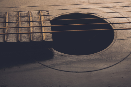 resonator: old Guitar closeup Stock Photo