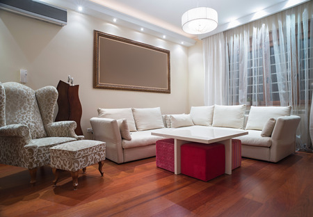 Plafoniere Living : Luxury living room with modern ceiling lights evening shot stock