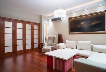 room door: Luxury living room interior - evening shot