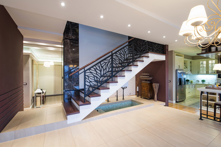 fence: Stairs in modern luxury apartment
