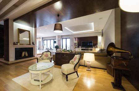 reloj: Interior of a luxury apartment with fireplace Foto de archivo