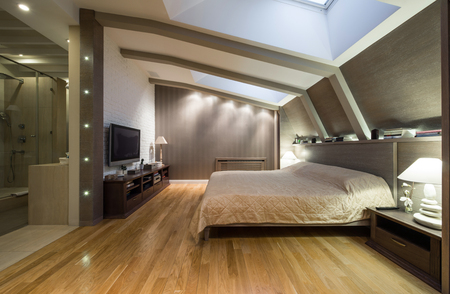 living room design: Loft bedroom with private bathroom
