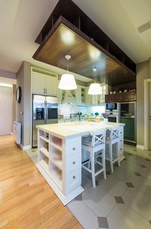 refrigerator kitchen: Interior of a specious modern kitchen
