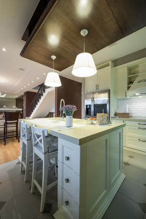 ceiling slab: Modern apartment interior, kitchen area