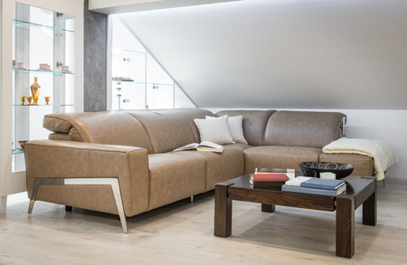 Living room interior, loft apartment, attic renovation Reklamní fotografie