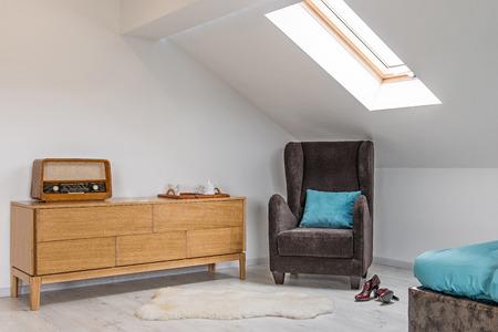 Bedroom interior, loft apartment, attic renovation Reklamní fotografie
