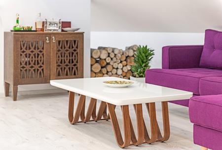 Living room interior, loft apartment, attic renovation, purple furniture Reklamní fotografie