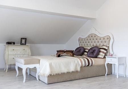Interior of  bedroom in loft apartment