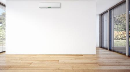 エアコン付きのモダンな明るい客室です。3d レンダリングされたイラストレーション 写真素材