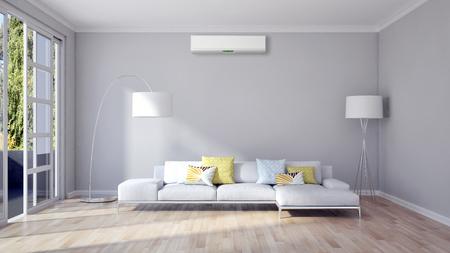 Nowożytny jaskrawy żywy pokój z klimatyzacją, 3D renderingu ilustracja Zdjęcie Seryjne