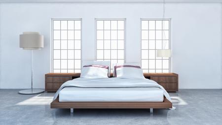 Modern bright interiors. 3d rendered illustration