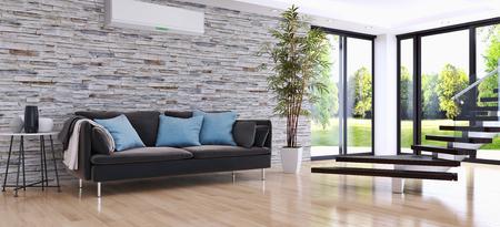 Moderne lichte woonkamer met airconditioning, 3D-rendering illustratie