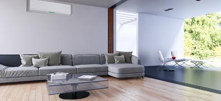 Moderne lichte woonkamer met airconditioning, 3D-rendering illustratie Stockfoto - 89855205