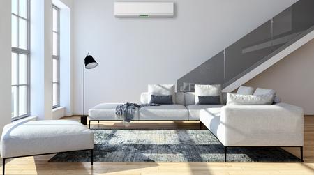 Salone moderno luminoso con condizionamento d'aria, illustrazione della rappresentazione 3D