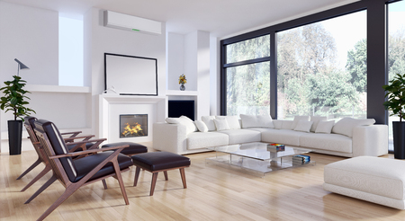 Modern bright living room with fireplace. 3d rendered illustration Stock Photo